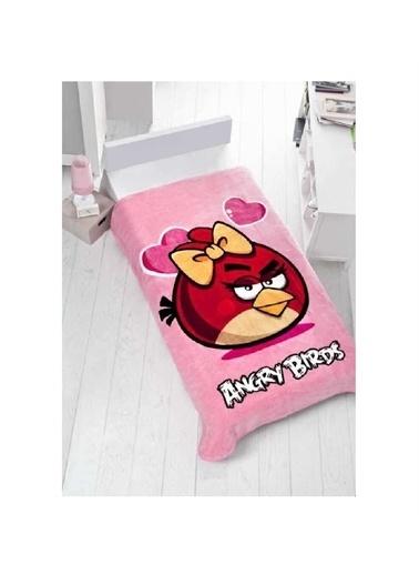Taç Lisanslı Tek Kişilik Battaniye Angry Birds Valentine Renkli